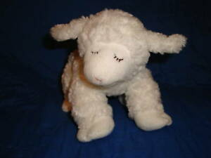 """Baby Gund White Lamb with Rattle WINKY 9"""" long"""