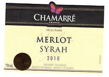 Etiquette de vin - Wine Label - CHAMARRE France - Merlot Syrah - 2010