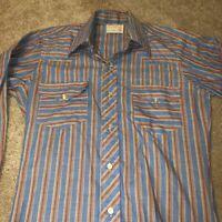 Vintage Wrangler 60s 70s Button Up Mens Dress Shirt Small/Medium