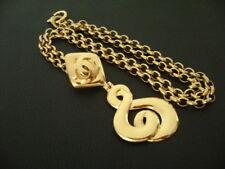 Pendant w/ Long Chain Necklace(95A) Auth Chanel Vintage Gold Long