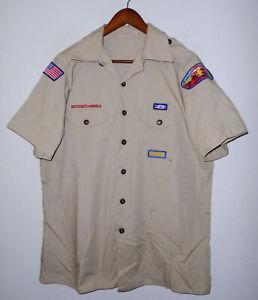 BOY SCOUTS Of America Insignia Uniform Shirt BSA Scout Vtg USA Adult Mens : LG