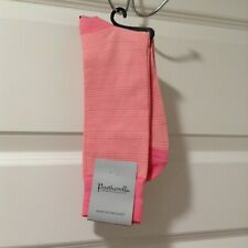 Pantherella Men's Dress Socks Medium Bubble Gum Pink Striped Cotton Blend NWT