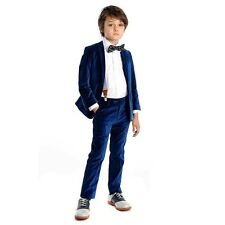 Royal Blue Kid's Formal Velvet Wedding Groom Tuxedos Boys Children Party Suits