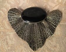 Vintage Victorian Sterling 925 Silver Marcasite Onyx Brooch Scarf Pendant