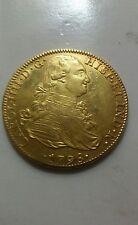 SPAIN COLONIAL GOLD COIN 8 ESCUDOS CAROL IIII CHARLES IV 1798.