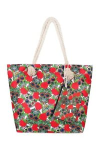 Sugar Skull Tote Bag and Wallet Red and Green Floral Beach Travel
