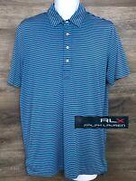 Ralph Lauren RLX Men's Blue Striped Short Sleeve Golf Polo Casual Shirt Medium