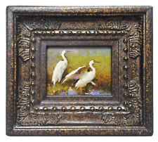 Miniature Oil Painting of beautiful egrets in marsh in ornate frame