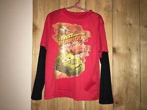 Disney Cars Boys Red & Black Shirt The Fast & Hilarious Size 5/6