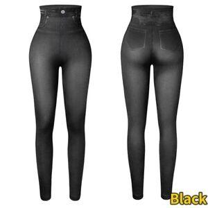 Women Stretchy Denim Jegging Jeans High Waist Tummy Control Pencil Pants Push Up
