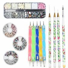 Perfect Summer Nail Art Kits Salon Tools Rhinestones Beads Brushes Dotting Pens