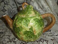Vintage Japan Pottery Barn Majolica Leaves 4 Cup Teapot