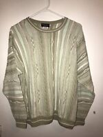Coogi Style Franco Danti Collection Mens L Pullover Sweater Green Cotton Blend