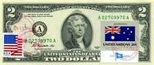 $2 DOLLARS 2013 STAMP CANCEL OF UN FROM AUSTRALIA LUCKY MONEY VALUE $125
