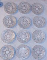 12 Dresden Meissen Reticulated Dessert Bread Plates Lattice Gilded Blue Flowers