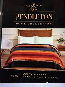 "Pendleton Sherpa Queen Size Fleece Blanket Grand Canyon Blue Orange 98"" x 92"""