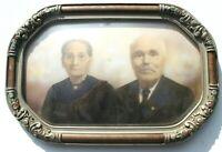 1900's Large Antique Vintage Wood Picture Frame Portrait Convex Bubble Glass