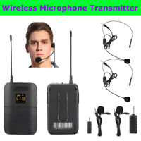 Wireless Microphone Transmitter Interview Lapel Clip Mic Receiver Headset Set