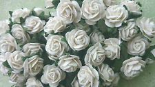 Snow White Mulberry Paper Roses, 15mm, Wedding, Craft, Scrapbooking