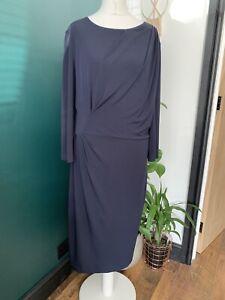 The Fold Size 14 Navy Blue Drape Waist Pencil Midi Dress Occasion smart
