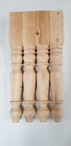 Set of 4 Solid Pine Farmhouse Table Legs 90mm x 90mm x 737mm