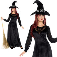 Deluxe Witch Craft Costume Halloween Witches Womens Ladies Fancy Dress Outfit