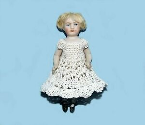 """LOVELY ANTIQUE ALL BISQUE String Jointed VINTAGE 3 3/4"""" GERMAN MIGNONETTE DOLL"""