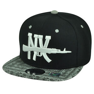 New York City NY Ornate Pattern Snapback Flat Bill Hat Cap NYC Big Apple Black