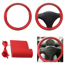 15'' DIY RED Car Steering Wheel Cover Leather w/Needle Thread For Sedan Protect