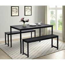 New 3 Piece Dining Set with Two benches Modern Dining Room Furniture Usa Stock