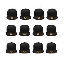 Plain Blank Flat Brim Adjustable Snapback Baseball Caps Wholesale LOT of 12