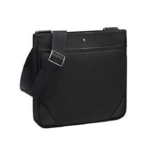 MONTBLANC 116797 BLACK SARTORIAL JET ENVELOPE SHOULDER BAG LEATHER NYLON NEW