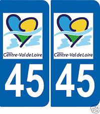 2 Autocollants style plaque d'immatriculation45 Val de Loire ex Région centre
