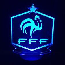 LAMPE CHEVET LOGO 2018 FFF FOOTBALL COUPE DU MONDE USB 3D VEILLEUSE 7 COULEURS