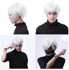 Tokyo Ghoul Kaneki Ken Short Silver White Cosplay Wigs Costumes Straight Hair