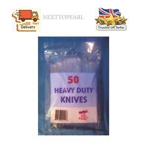 50 HEAVY DUTY CLEAR PLASTIC KNIVES,NEW
