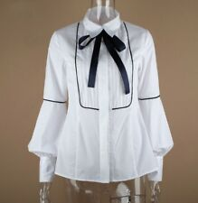 White black blue pussy bow neck tie Victorian career designer blouse shirt 8 10