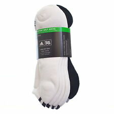 (1-Dozen Pairs)Adidas Mens Everyday Low Cut Golf Sock-Wht/BLK-Fits Sizes 7-10.5
