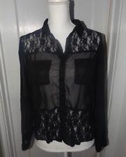 Juniors Size L Black Sheer & Lace Button Front Blouse-BONGO