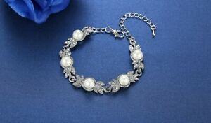 Simulated Pearl and Crystal Bracelet - Platinum Plated - New In Gift Box
