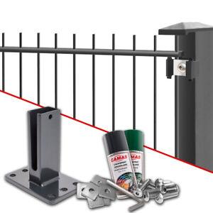 Doppelstabmattenzaun Zaun Set Zaunpfosten Gittermatten Gartenzaun + Dübelplatte