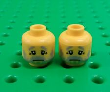 *NEW* Lego Grey Beard Sad Face Grandad Heads Peasants Men Minifigs Figs 2 pieces