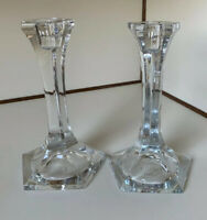 "Pair of Clear Glass Candlestick Holders- Made in Romania 7 3/4"" Tall"