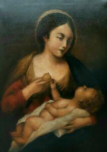 Quadro Antico Dipinto Olio Su Tela - Madonna Vergine con Gesù bambino - 50x70