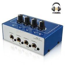 Mini Professional 4 Channel Headphone Audio Stereo Amp Amplifier Dual Mixer New