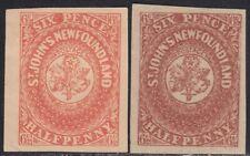 Newfoundland 1857 6 1/2d pair Oneglia Forgery, Counterfeit, Fake.