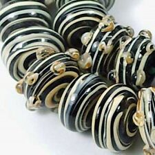 "Lampwork Glass ""Tiger"" taffy swirl Rondelle Beads (10)"