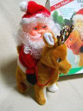 Vintage Bradford's Christmas Tree Mates Musical Santa on Reindeer / Needs Repair