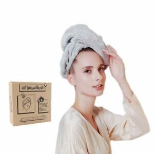 Ultra-Soft, Fast Drying Hair Towel Wrap w/ Elastic for Snug Fit, Natural Bamboo