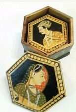 Vintage Wood Nesting Boxes Hand Painted India Man & Woman
